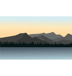 Silhouette of mountain and lake vector image