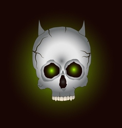 Silver skull with goat vector