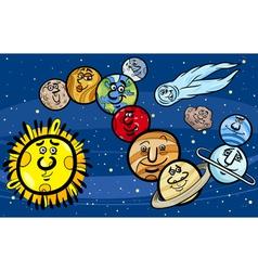 solar system planets cartoon vector image