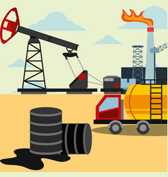 Spilled petroleum barrels truck and refinery plant vector