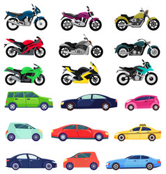 Sports cars and motorbikes set vehicles transport vector