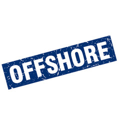 Square grunge blue offshore stamp vector