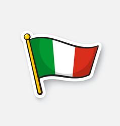 Sticker flag italy on flagstaff vector