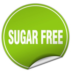 Sugar free round green sticker isolated on white vector