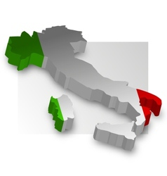 Three dimensional map of Italy in flag colors vector image