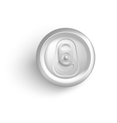 Top view of white aluminum can mockup for soda or vector