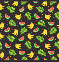 Tropical fruits pattern vector