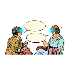 two girlfriends older women in virtual reality vector image