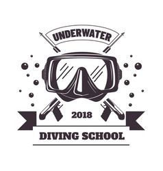 Underwater diving school 2018 logotype with mask vector