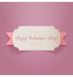 Valentines Day white Banner with pink Ribbon vector