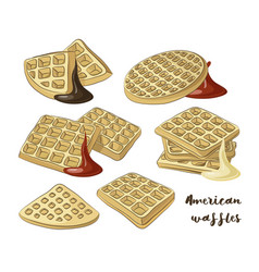 Various american waffles vector