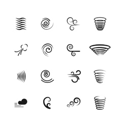 Wind motion icons set vector