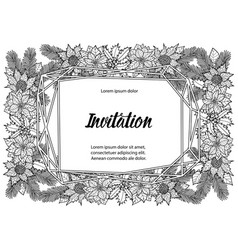 Winter invitation coloring page with geometric vector