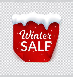 winter sale banner with snow cap red paper page vector image
