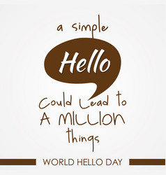 world hello day on white background vector image