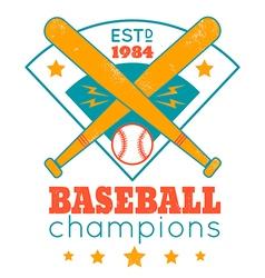baseball retro poster with blue base vector image
