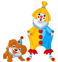 clown girl and clown dog vector image vector image