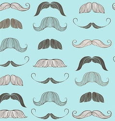 Hand Drawn Mustache Seamless Pattern vector image vector image
