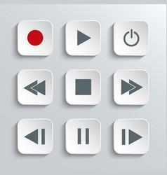 Media player control icon set vector image