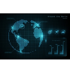 World globe infographic with icons and diagrams vector image