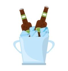 bucket two beers cool ice design vector image