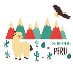 concept poster explore peru with cute lama vector image vector image