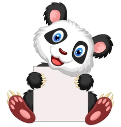 Cute panda cartoon holding blank sign vector image vector image