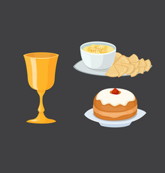 hummus jewish food pie appetizer mashed chickpeas vector image