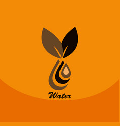 Leaf with drop in logo organic life symbol eco vector