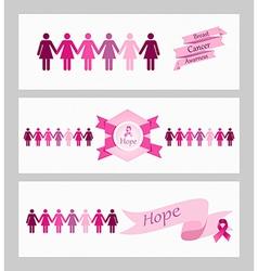 Breast cancer awareness ribbon web banners set vector