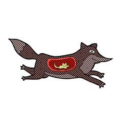 Comic cartoon wolf with mouse in belly vector