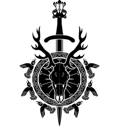 Deer skull sword and shield North Viking vector image vector image