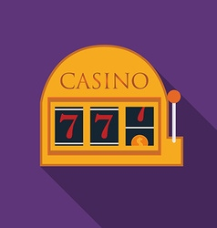 Flat design slot machine icon with long shadow vector image