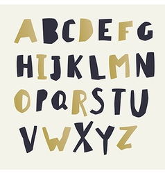 Paper Cut Alphabet Black and gold letters Easy vector image vector image