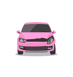 damaged pink car front view vector image vector image