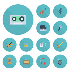 flat icons acoustic fiddle octave keyboard and vector image