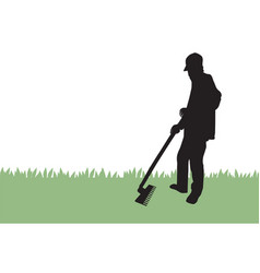 gardener raking grass vector image