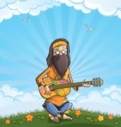 Hippie with guitar outdoor vector