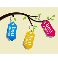 price tags on branch vector image vector image