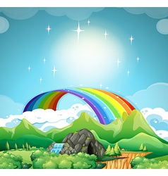 Rainbow over the mountains vector image vector image