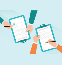 two partners signing paper deal contract vector image