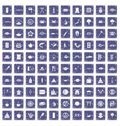 100 sushi bar icons set grunge sapphire vector