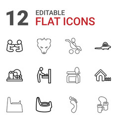 12 baby icons vector