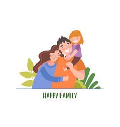 2 similar happy familyportrait young happy vector