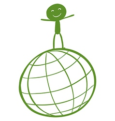 A globe with a child at the top vector image