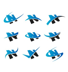 Alphabet n logo icons vector