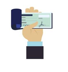 bank check transaction vector image