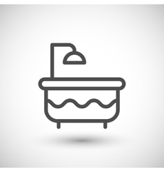Bathtube with shower line icon vector image