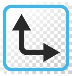 Bifurcation Arrow Right Up Icon In a Frame vector