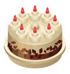 Birthday cake icon isometric style vector